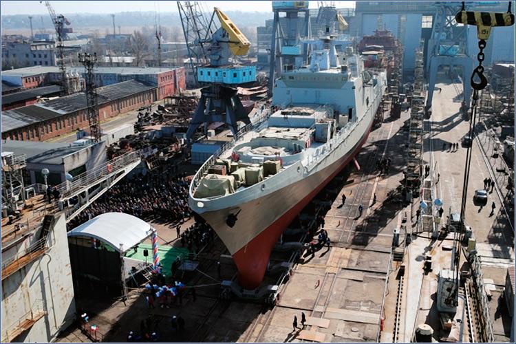 На судостроительном заводе «Янтарь» состоялся спуск головного корабля проекта 11356 «Адмирал Григорович»
