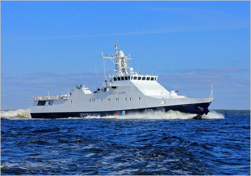 Подъем флага Морской пограничной службы ФСБ России на пограничном сторожевом корабле проекта 22460 «Аметист»